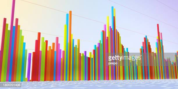 Three Dimensional Multi-Coloured Bar Graph Showing Volatile Data In Perspective