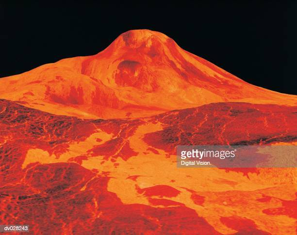 three dimensional perspective view of the surface of venus - venus planet stock pictures, royalty-free photos & images