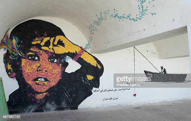 A three dimensional picture on a wall is seen in Djerba island of Tunisia on October 17 2014 Three dimensional pictures painted by the 150 street...