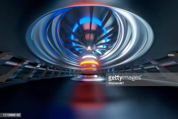 three dimensional render of futuristic reactor room - kontrollraum stock-fotos und bilder
