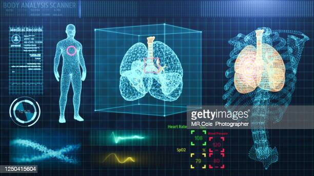 three dimensional user interface hud of medical technology,rib and lung wire-frame model of human organ analysis background for medical technology - wire frame model stock pictures, royalty-free photos & images