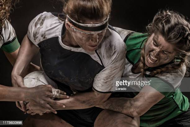 three dirty female rugby players - rugby stock pictures, royalty-free photos & images