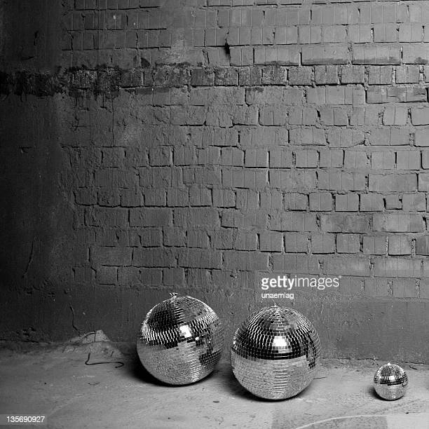 three discoballs - endopack stock pictures, royalty-free photos & images