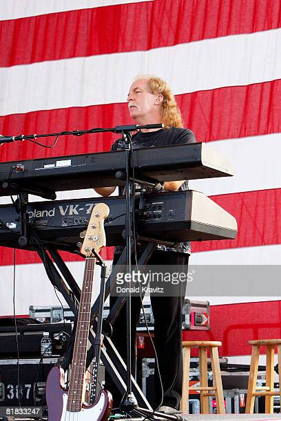 Three Dog Night Band member Jimmy Greenspoon performs for fans on the beach at the Atlantic City Hilton on July 5, 2008 in Atlantic City, New Jersey.
