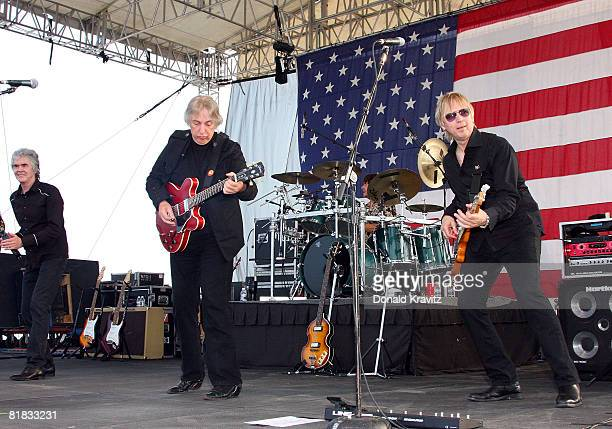 Three Dog Night Band members, Danny Hutton, Cory Wells and Paul Kingery performs for fans on the beach at the Atlantic City Hilton on July 5, 2008 in...