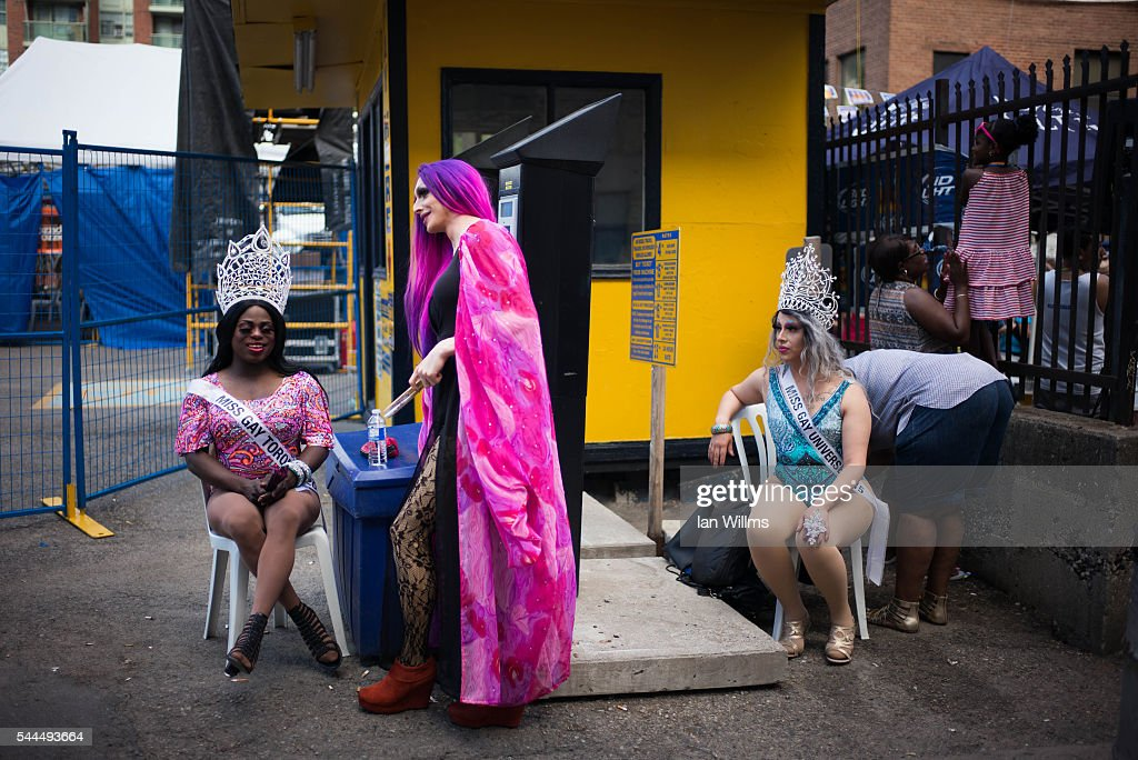 Three drag queens rest along Church Street, during the annual Gay Pride Festival on July 3, 2016 in Toronto, Ontario, Canada. Justin Trudeau made history as the first Canadian prime minister to march in the Pride parade.