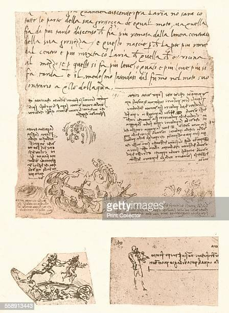 Three drawings c1472c1519 A representation of natural phenomena and two sketches of a male figures From The Literary Works of Leonardo Da Vinci Vol 1...