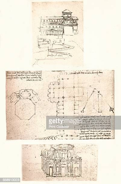 Three drawings of churches c1472c1519 From The Literary Works of Leonardo Da Vinci Vol II by Jean Paul Richter PH DR [Sampson Low Marston Searle...