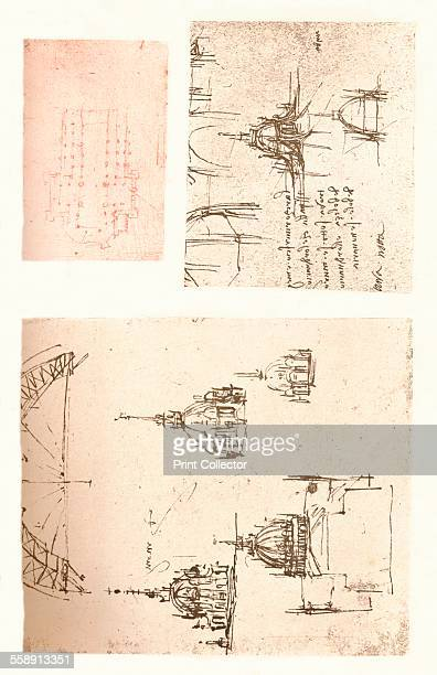 Three drawings of Milan Cathedral c1472c1519 From The Literary Works of Leonardo Da Vinci Vol II by Jean Paul Richter PH DR [Sampson Low Marston...