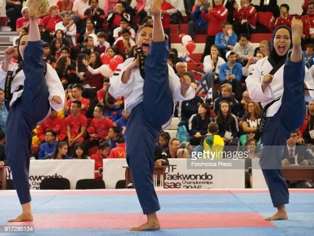 Three Egyptian girls participating at the 10th WTF World Taekwondo Poomsae Championship taking place in Lima, Peru.