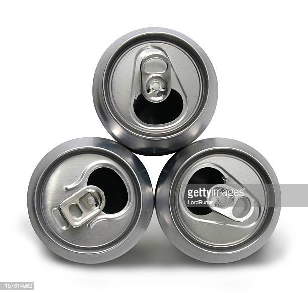 três latas vazias - bebida fresca imagens e fotografias de stock