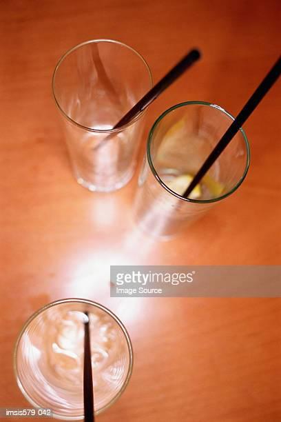 Three empty drinks