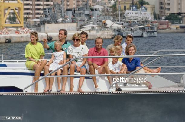 Three European royal families join together for a yachting holiday on the 'Fortuna' in Majorca, Spain, August 1990. From left to right, former Queen...