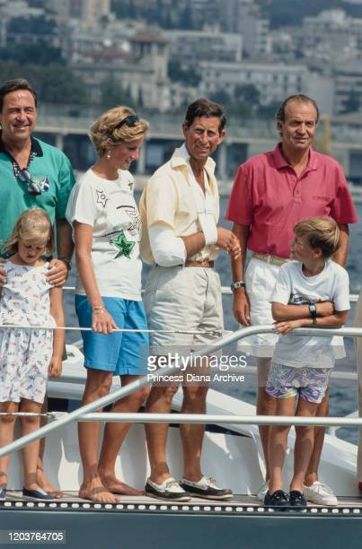 Three European royal families join together for a yachting holiday on the 'Fortuna' in Majorca Spain August 1990 From left to right former King...