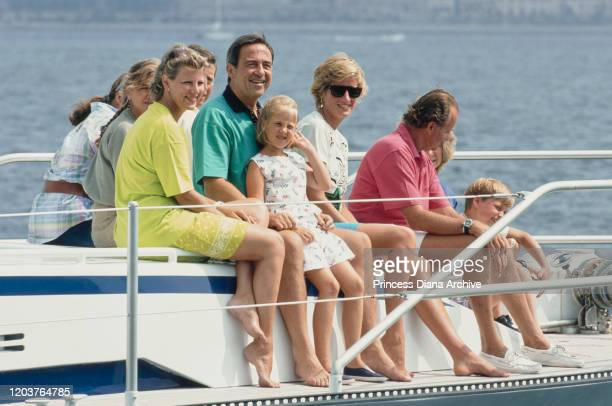Three European royal families join together for a yachting holiday on the 'Fortuna' in Majorca Spain August 1990 Pictured are former Queen AnneMarie...