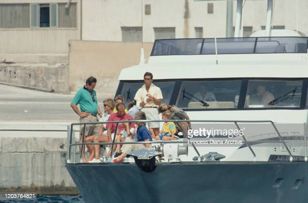 Three European royal families join together for a yachting holiday on the 'Fortuna' in Majorca, Spain, August 1990. From left to right, former King...