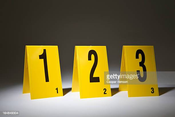 Three evidence markers arranged in a row in numerical order