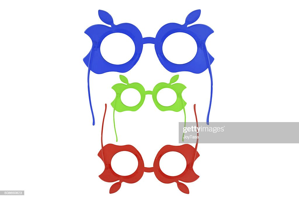Three fancy sunglasses isolated on white background : Stock Photo