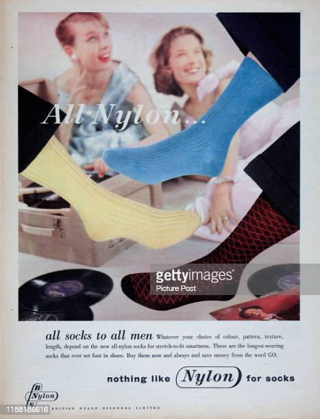 Three feet display a range of AllNylon socks in an advertisement for the British Nylon Spinners Limited Original Publication Picture Post Ad Vol 74...