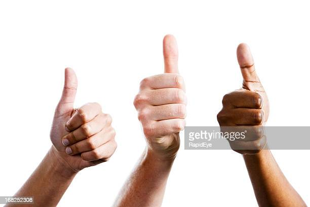 Three female hands give joint thumbs up