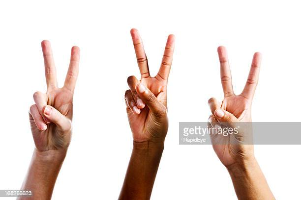 three female hands make v for victory sign - peace symbol stock photos and pictures