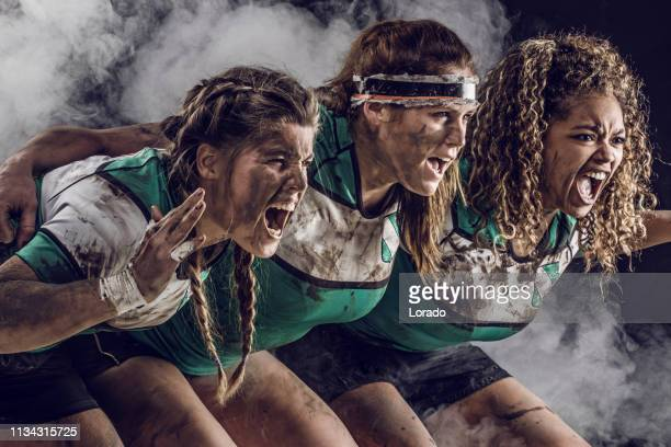 three female rugby players - rugby league stock pictures, royalty-free photos & images