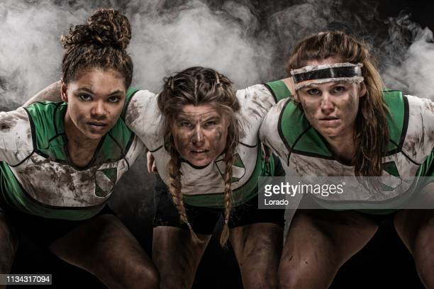 three female rugby players - rugby team stock pictures, royalty-free photos & images