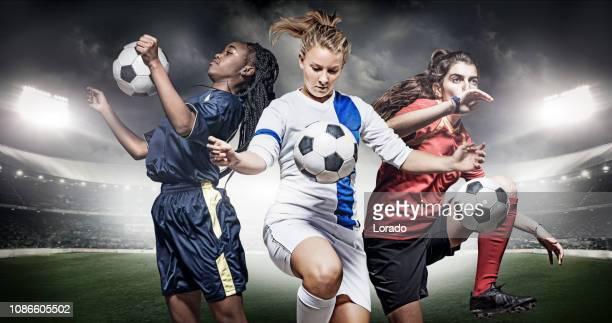 three female soccer players - calcio di squadra foto e immagini stock
