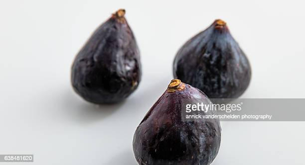 Three figs in shallow depth of field. Foreground focus.