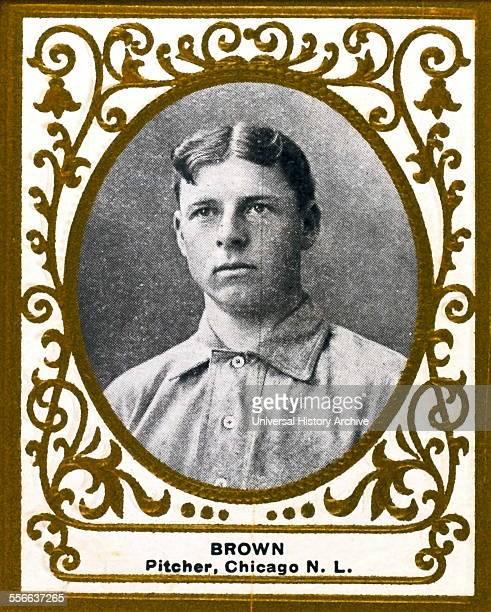 Three Finger Brown Chicago Cubs baseball card portrait