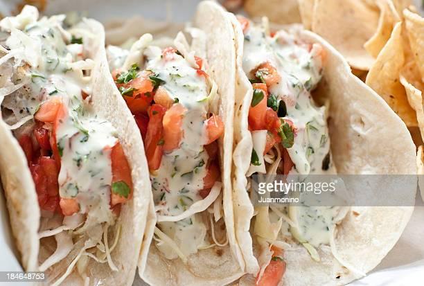 three fish tacos - dorado fish stock photos and pictures