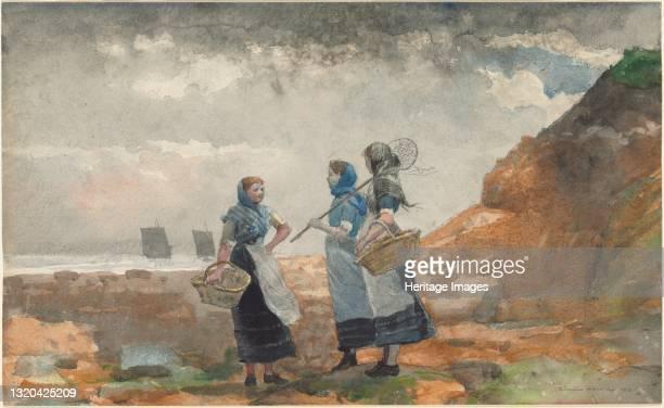Three Fisher Girls, Tynemouth, 1881. Artist Winslow Homer.