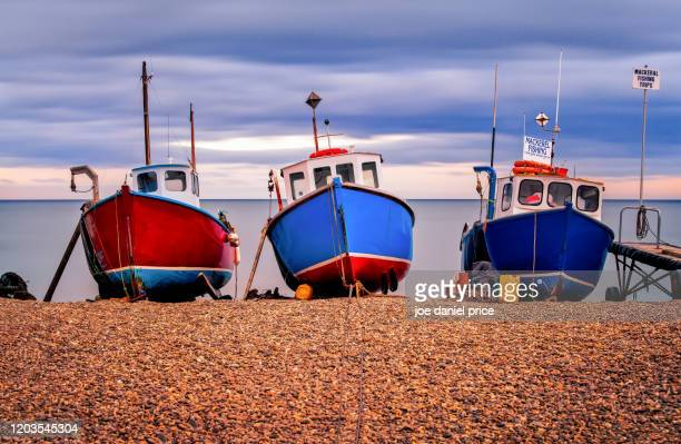 three fishing boats, beer, devon, england - seascape stock pictures, royalty-free photos & images