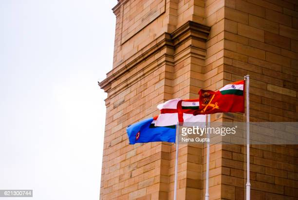 three flags at the india gate - indian army stock pictures, royalty-free photos & images
