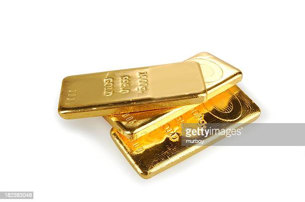 Three flat gold bars stacked on a white background