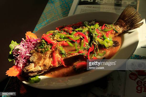 Three flavored Whole Sea Bass is one of 300 dishes served at jitladaThai Restaruant in Hollywood on January 18 2011 Jo Stougaard plans to all 300 She...