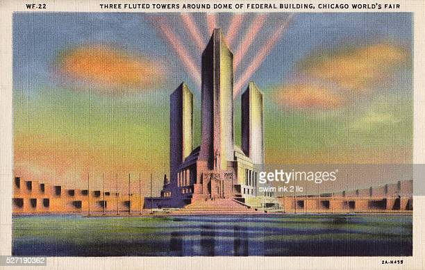 Three Fluted Towers Around Dome of Federal Building Postcard