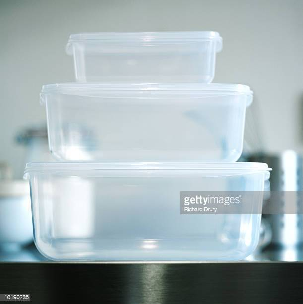 Three food storage boxes, close-up