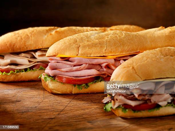 three foot long subs - submarine sandwich stock pictures, royalty-free photos & images