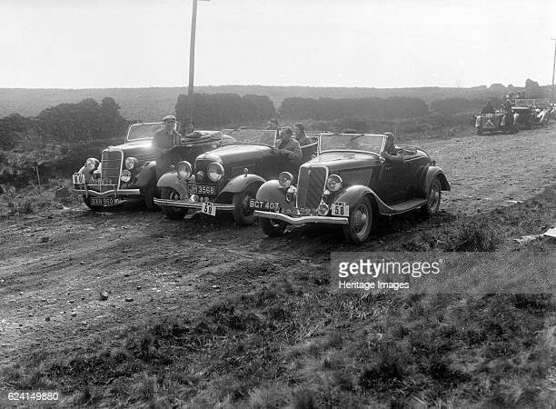 Three Ford V8s at the Sunbac InterClub Team Trial 1935 Artist Bill BrunellFord V8 Drop head 1934 3622 cc Reg No BGT407 No 58 Driver Chappell SL...