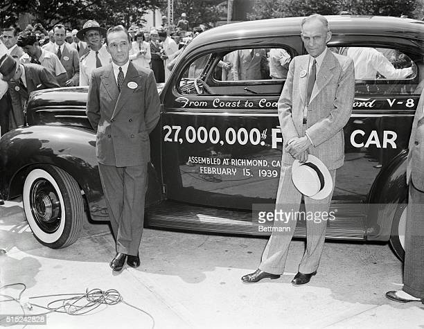 Three Fords -- Henry, Edsel, and 27 000th -- at the Fair. New York, New York: Motor mogul Henry Ford and his son Edsel, proudly pose with the 27...