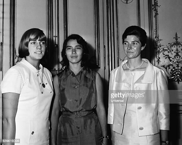 Three French champions Christine Caron Janou Lefebvre and Maryvonne Dupureur
