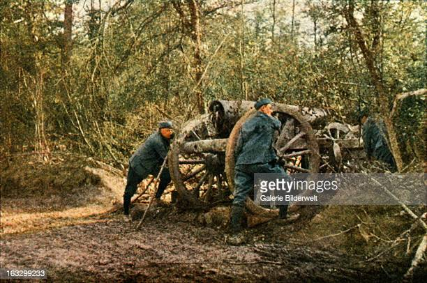 Three French soldiers in the woods with a Howitzer September 1916 Battle of Verdun Western Front World War I France Autochrome Lumière Photo Jules...