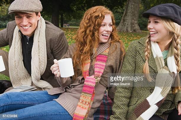 Tre amici avendo picnic