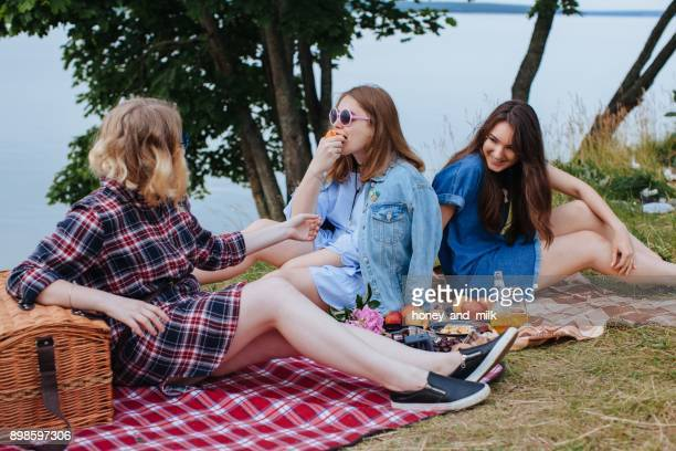 three friends sitting by the river having a picnic - riverbank - fotografias e filmes do acervo