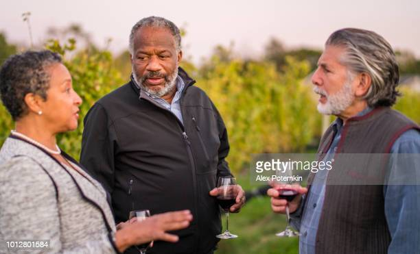 Three friends tasting the red wine at the winery in Long Island, New York State, USA.