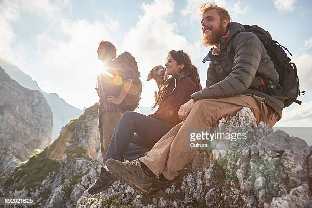 Three friends witting with dog on mountain top, Innsbruck, Tyrol, Austria