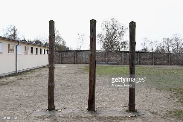 Three gallows at the former concentration camp Sachsenhausen are pictured on April 13 2010 in Oranienburg Germany The former concentration camp...