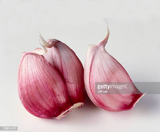 three garlic cloves - garlic clove imagens e fotografias de stock