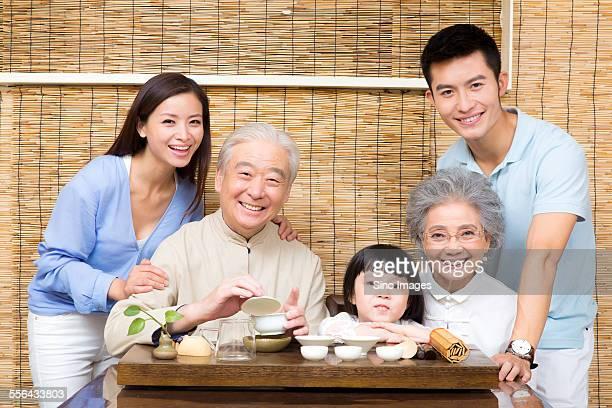 Three Generation Chatting with Tea